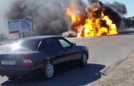В Тарумовском районе Дагестана после столкновения с БМВ взорвалась маршрутка (Видео)