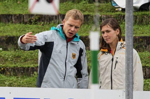 Stefan Henze (DKV-Assistenz-Trainer K1) und Katja Frauenrath (GER), Streckenbesichtigung, Stefan Henze DKV Assistance team manager K1 and Katja Frauenrath ger Circuit tour