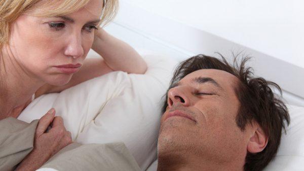 Wife unhappy at husband sleeping